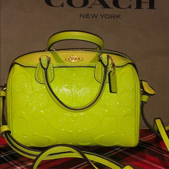 99bba32031 100% Authentic Coach Neon Green Micro Crossbody